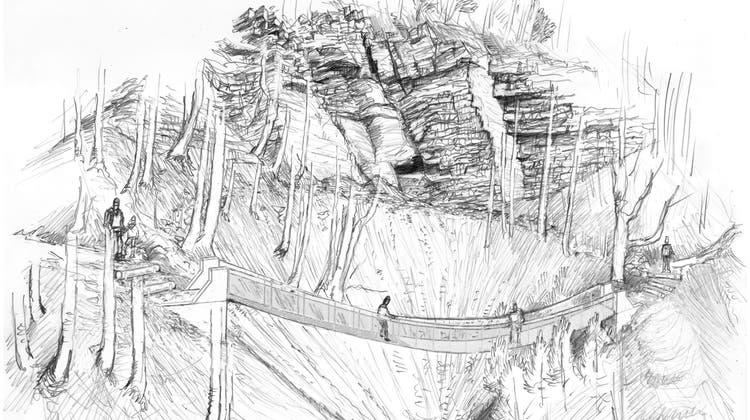 So soll die Seilbrücke sicher über das «Gschliff» am Balmberg führen. (Zvg)