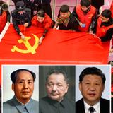 Mitglieder der Kommunistischen Partei nähen in der Stadt Huzhou eine chinesische Nationalflagge. (Bild: Getty Images (Huzhou, 16. März 2021))