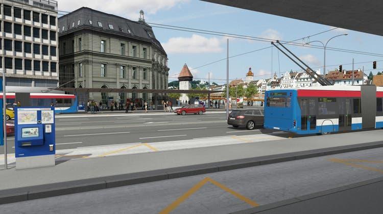 So soll eines der Durchmesserperrons am Bahnhof Luzern aussehen. (Visualisierung: Verkehrsverbund Luzern)