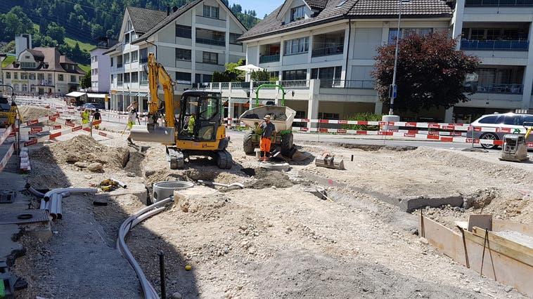 Die Bauarbeiten imBereich Grüenaustrasse - Café Abderhalden konnte vorgezogen werden, ohne den Baufortschritt bei anderen Bauabschnitten zu beeinträchtigen. (Bild: PD)