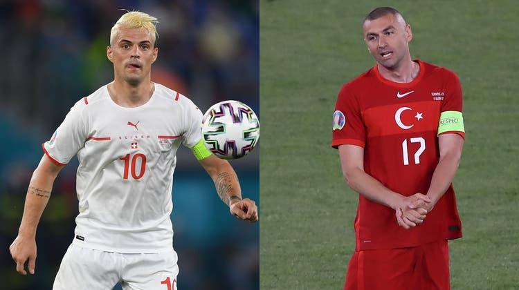 Die zwei Captains: Der Schweizer Granit Xhaka und Burak Yilmaz, der einzige Ü30-Feldspieler der Türken. (Bild: Freshfocus)