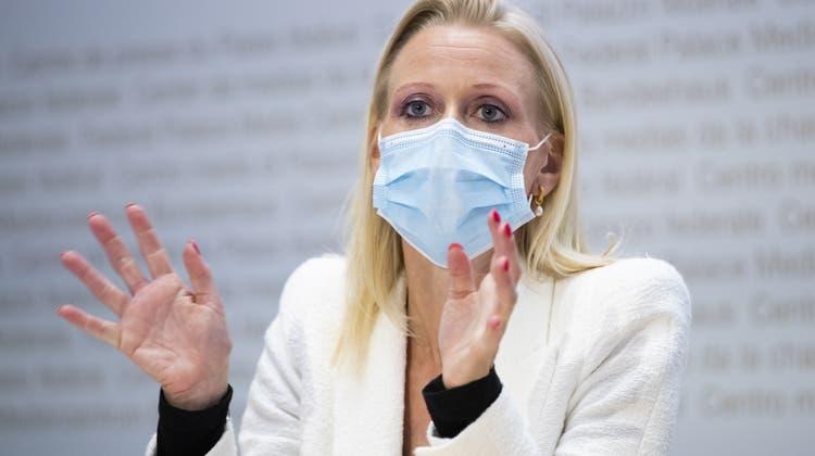 Lilian Studer ist die neue Präsidentin der EVP Schweiz. In ihrer Redebetontesie das Wertefundamentder Partei. (Keystone)