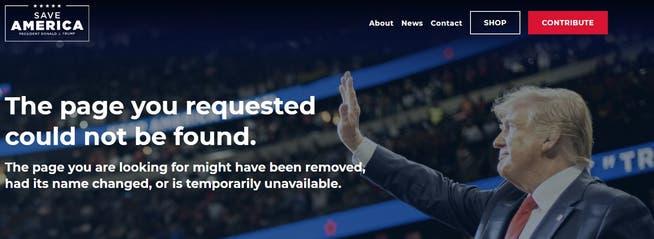 So sieht die die «From the Desk of Donald J. Trump»-Homepage jetzt aus.
