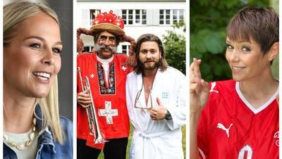 Linda Fäh (links), Baschi (Mitte) und Francine Jordi (rechts) haben mit der Schweizer Nati mitgefiebert. (Alexander Wagner/Instagram)