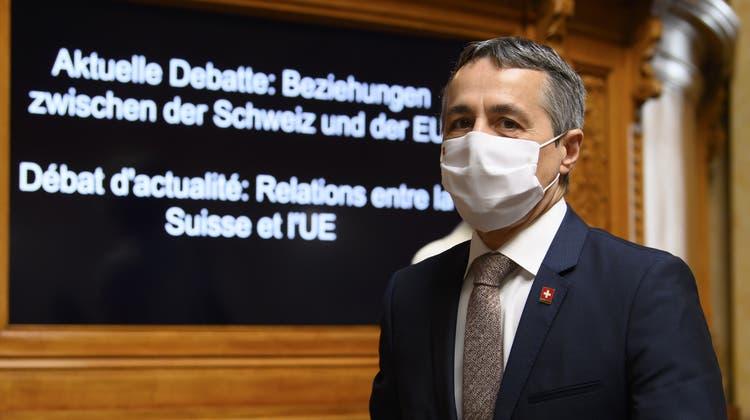 Aussenminister Ignazio Cassis ist «einigermassen optimistisch», dass sich die Beziehung zur EU bald wieder normalisiert. (Keystone)