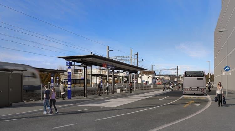 So soll der Bushub Ost am Bahnhof Rothenburg aussehen. (Visualisierung: PD)