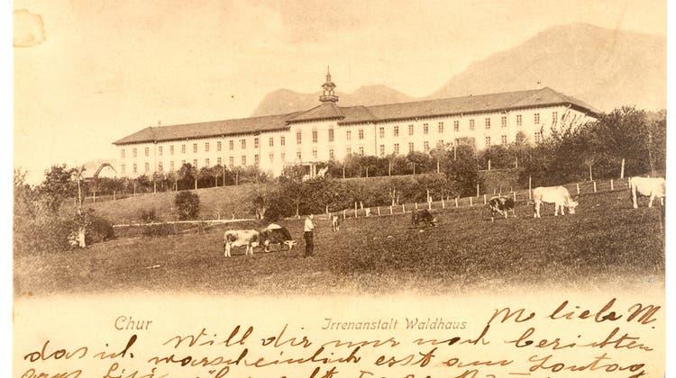 Die psychiatrische Anstalt Waldhaus als Postkarten-Motiv. (©Verwaltungsarchiv Waldhaus)