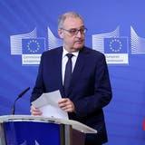 Da war schon klar, dass ein Verhandlungsabschluss immer weniger wahrscheinlich wird: Bundespräsident Guy Parmelin im April bei Kommissionspräsidentin Ursula von der Leyen in Brüssel. (Keystone)