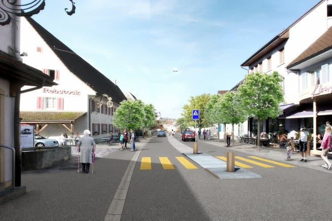 Visualisierung des Projekts Neugestaltung Hauptstrasse in Frick.