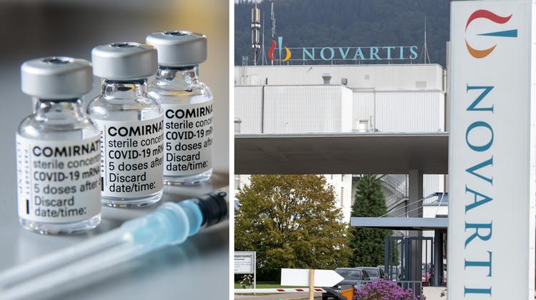 Novartis füllt am Standort Stein Covid-19-Impfstoffvon Pfizer/Biontechab. (Georgios Kefalas / KEYSTONE (26. Januar 2021))