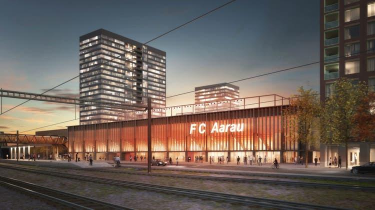 Visualisierung des geplanten Stadions im Torfeld Süd. (HRS Real Estate AG)
