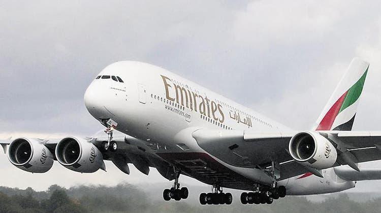 Bald wieder in Zürich: Der A380 von Emirates. (zvg)