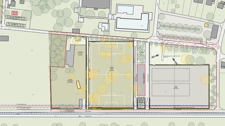 So sollen die Sportplätze angeordnet werden. Von rechts der Reitplatz, dann das Gebäude, der Fussballplatz und der Platz für die Hündeler. (zvg)