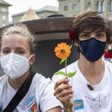 Nach einer langen Pause wegen der Pandemie streikten am 21. Mai erstmals wieder 30'000 Menschenam «Strike for Future» des Klimastreiks. (Keystone (Zürich, 21. Mai 2021))