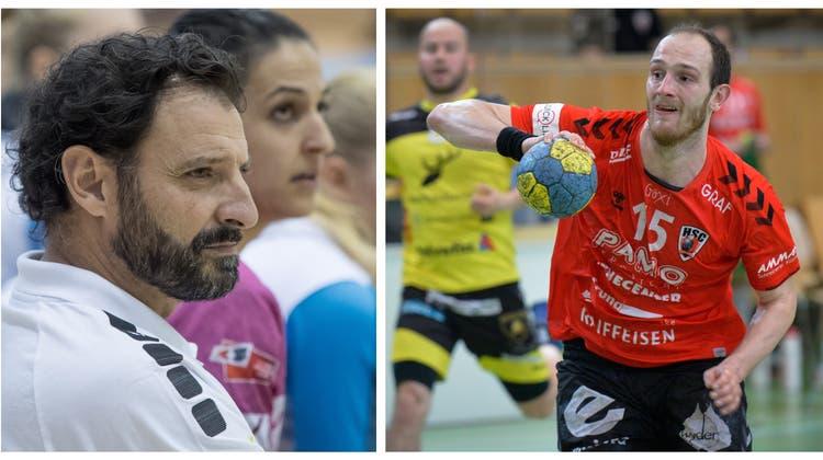 Führungsfiguren in Suhr, gestern und heute: Meisterspieler Carlos Lima (links) verfolgt die Leistungen von HSC-Captain Tim Aufenblatten ganz genau. (Pius Amrein/Ralph Ribi)
