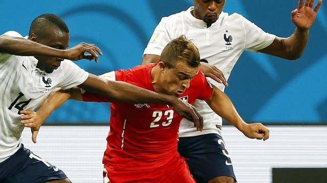 Blaise Matuidi bejubelt das 2:0 im WM-Spiel der Franzosen gegen die Schweiz am 20. Juni 2014. Am Ende hiess es 5:2 für die Grande Nation.