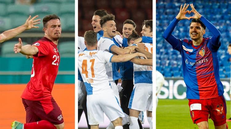Xherdan Shaqiri zieht nach seinem Goal gegen die Türkei eine Grimasse. (Ozan Kose / AP)