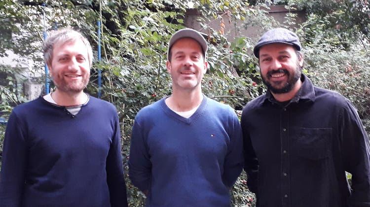 Die Bandtstadt-Initianten Lucio Marelli, Hannes Fankhauser und Oliver Pellet. (zVg)