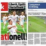 So titeln die Schweizer Zeitungen nach dem sensationellen Erfolg: Blick (links), Aargauer Zeitung (Mitte) und Tagesanzeiger (rechts). (Screenshot)
