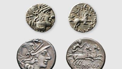 Eine der ältesten Münzen aus den jüngsten Grabungen ist dervon Marcus Mohler gefundene Kaletedou-Sula-Quinaraus keltischer Zeit (oben). Darunter sein Vorbild aus römischer Zeit, ein römischer Denar des Publius Sula aus dem Jahr 151 vor Christus. (ZVG Archäologie BL)