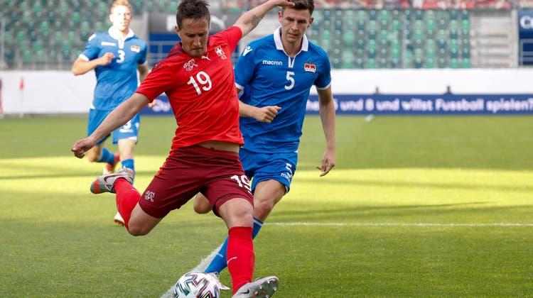 Drei Tore, zwei Treffer an die Latte: Gavranovic ist der Lichtblick gegen Liechtenstein. (Bild: Marc Schumacher / freshfocus)