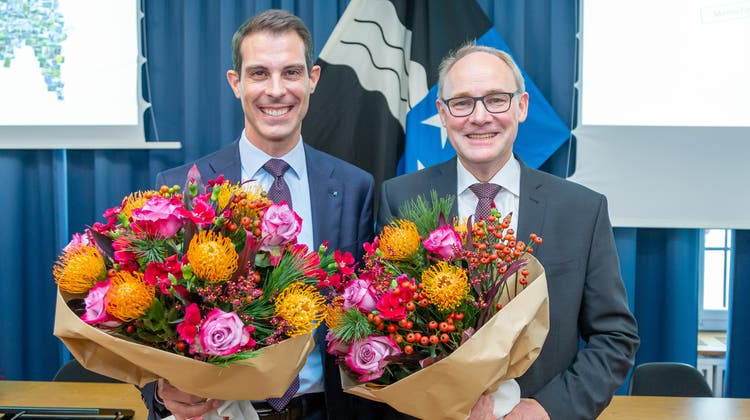 Die beiden Aargauer Ständeräte: Thierry Burkart (links) und Hansjörg Knecht am Tag ihrer Wahl 2019. (Fabio Baranzini (24.11.2019))
