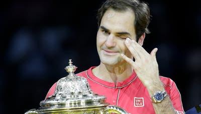 Roger Federer vergoss im Oktober 2019 bei seinem bislang letzten Turniersieg in Basel ein paar Tränen. (Marc Schumacher/Freshfocus)