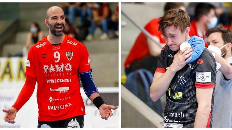 João Ferrazsah für sein Foul an Roman Sidorowicz in Spiel zwei der Halbfinalserie die Gelbe Karte. (Marc Schumacher / freshfocus)