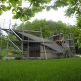 Die Bergkapelle auf dem Weissenstein ist eingerüstet. (Judith Frei)