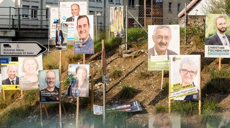 Alle vier Jahre werben Wahlplakate um Wählerstimmen, hier in Baden. (Sandra Ardizzone)