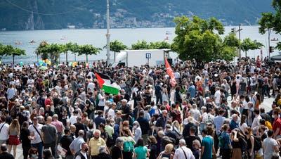 Die Kundgebung richtet sich gegen den Abriss desAutonomen Zentrums Molino in Lugano. (Keystone)