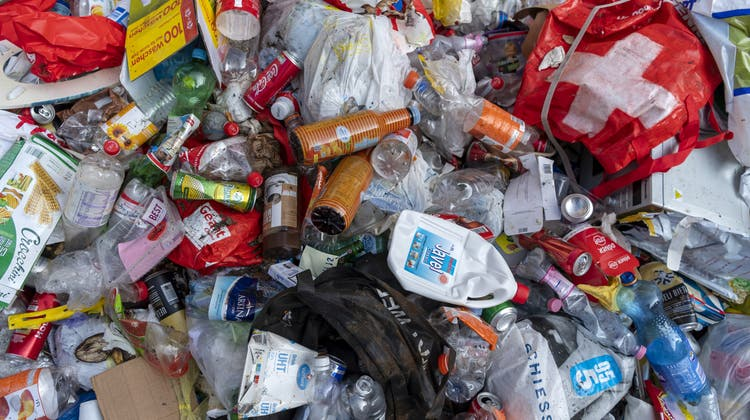 Die Stadtreinigung in Basel zeigte an einer Medienorientierung 2019 zum Thema Littering einen Abfallhaufen, der innert einer Woche an einer Glassammelstelle an der Feldbergstrasse zusammengekommen ist. (Keystone/Georgios Kefalas)