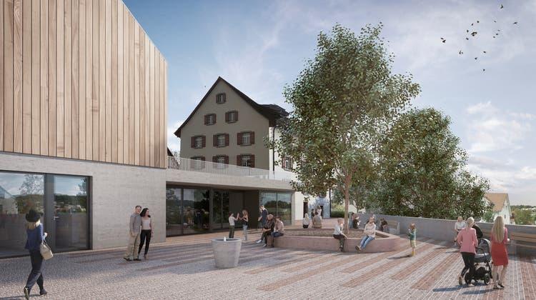 Das Gemeindehaus Rudolfstetten ist zu klein, der Werkhof (links) in die Jahre gekommen. (Walter Christen)