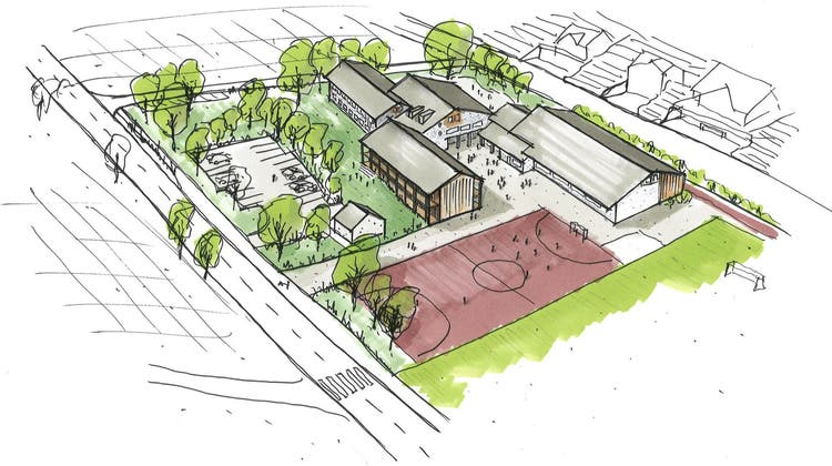 Die Visualisierung zeigt das Schulareal mit dem Erweiterungsbau zwischen Parkplatz, Turnhalle und Tartanplatz. (Bild: PD/Innoraum AG)