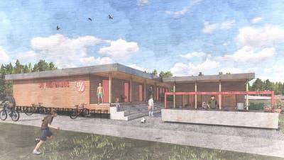 Die Visualisierung des zukünftigen Clubhaus des SV Würenlos neben dem Sportplatz Tägerhard. (zvg)