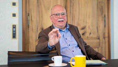 «Das ist hartes Stück»: Konrad Hummler zu den Vorwürfen von Ueli Forster an Bundesrätin Karin Keller-Sutter. (Bild: Arthur Gamsa (St.Gallen, 18. Februar 2021))