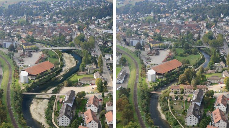 Mit zwei grossen Kiesbänken und neuen Brücken (Visualisierung links) wird die Birs in den Gebieten Norimatt und Nau in Laufen ihr Gesicht im Vergleich zu heute (rechts) deutlich verändern. (Zvg/Tiefbauamt Baselland)