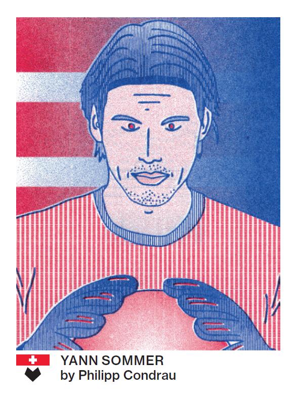 Yann Sommer erkennt man auch in rot-blau: So hat ihn der Badener Illustrator Philipp Condrau gezeichnet.