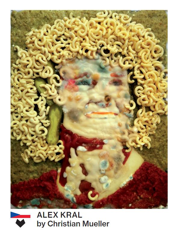 Beim Basler Künstler Christian Müller landen für das Portrait von Alex Kral Hörnli mit G'hacktem auf dem Papier.