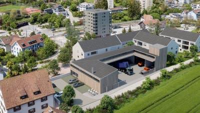 So sieht das überbaute Areal in Rudolfstetten aus: Das Gemeindehaus (links unten) wird erweitert, rechts davon der U-förmige Werkhof mit Entsorgungsanlage und darum herum die Mehrfamilienhäuser der Einwohner- und Ortsbürgergemeinde. (Visualisierung: umw)