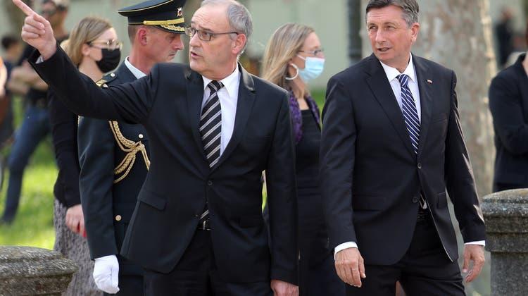 Bundespräsident Guy Parmelin mit dem slowenischen Präsident Borut Pahor (rechts). (Keystone)