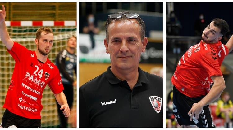 HSC-Sportchef Michael Conde (Mitte) muss in der neuen Saison unter anderem Ersatz für die beiden Leistungsträger David Poloz (links) und Diogo Oliveira (rechts) finden. (AWA/Freshfocus/AZ-Collage)