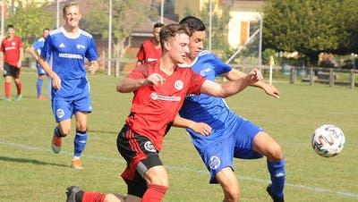 Der Solothurner Cup ist für die Drittligisten eine gute Chance, sich mit den Klubs aus der 2. Liga zu messen. Szene aus dem Sechzehntelfinal zwischen dem FC Trimbach und dem FC Wangen bei Olten (1:5). (Markus Müller)