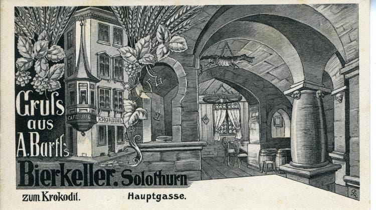 Eine Postkarte des «Bierkellers zum Krokodil». (ZB Solothurn)