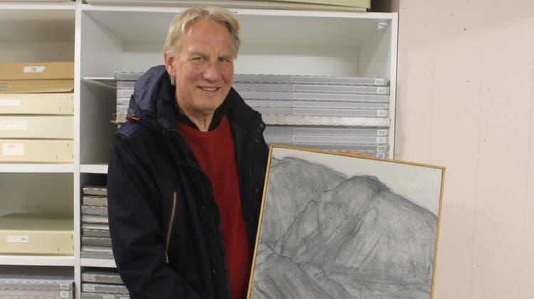 Der Künstler Ueli Studer anlässlich der Übergabe im Künstlerarchiv Grenchen. (André Weyermann)