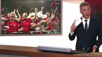 Bei der «Mittagstagesschau» nach dem Sieg der Schweiz an der EM gegen Frankreich versagte die Technik mehrfach. Die Sendung ist aus dem Archiv verschwunden. (Screenshot SRF / Aargauer Zeitung)