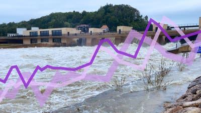 Wassermassen schiessen aus demHagneck-Stauwehr am Bielersee. (Bild: Oliver Menge)