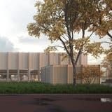 Visualisierung der geplanten Dreifachturnhalle Birkenweg in Sirnach. ((Bild: PD))