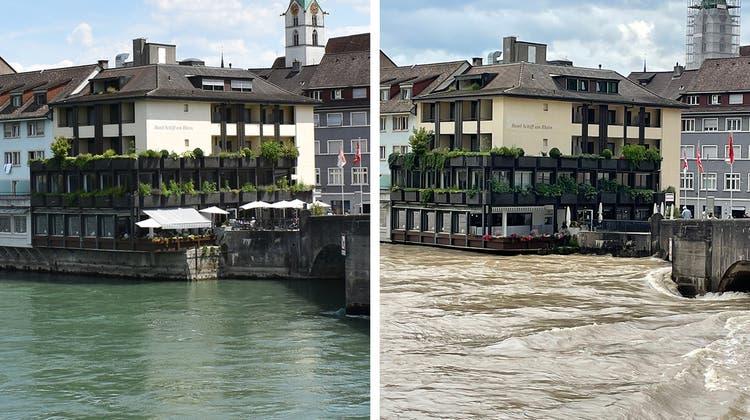 Hochwasser im Aargau – in 16 Vorher-Nachher-Vergleichen