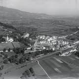 Heerbrugg mit Schloss und Ziegelei im Jahr 1923, im Luftbild von Walter Mittelholzer. (Bild: ETH-Bildarchiv)